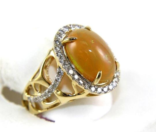 Other Oval Fire Opal & Diamond Halo Solitaire Ring 14k YG 4.54Ct Image 1