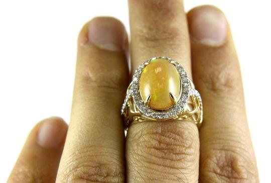 Other Oval Fire Opal & Diamond Halo Solitaire Ring 14k YG 4.54Ct Image 3