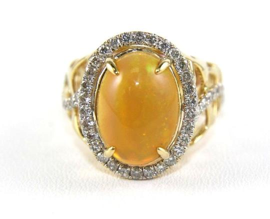 Other Oval Fire Opal & Diamond Halo Solitaire Ring 14k YG 4.54Ct Image 4