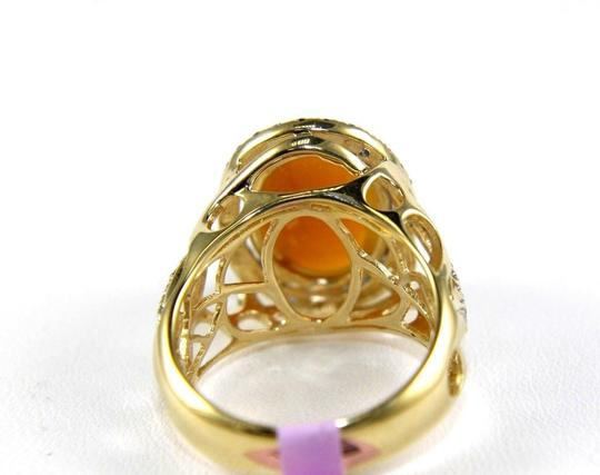 Other Oval Fire Opal & Diamond Halo Solitaire Ring 14k YG 4.54Ct Image 6