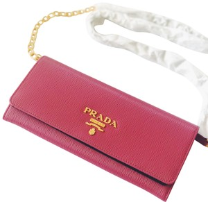 a8fd5d25bbedec Added to Shopping Bag. Prada Cross Body Bag. Prada Woc Wallet On Chain Hot  Gold Pink Saffiano Leather ...