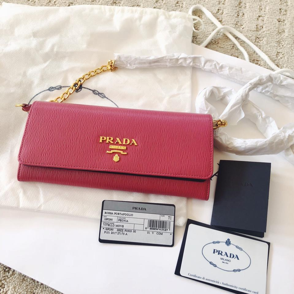 3c7891935ae1 Prada Woc Wallet On Chain Hot Gold Pink Saffiano Leather Cross Body ...
