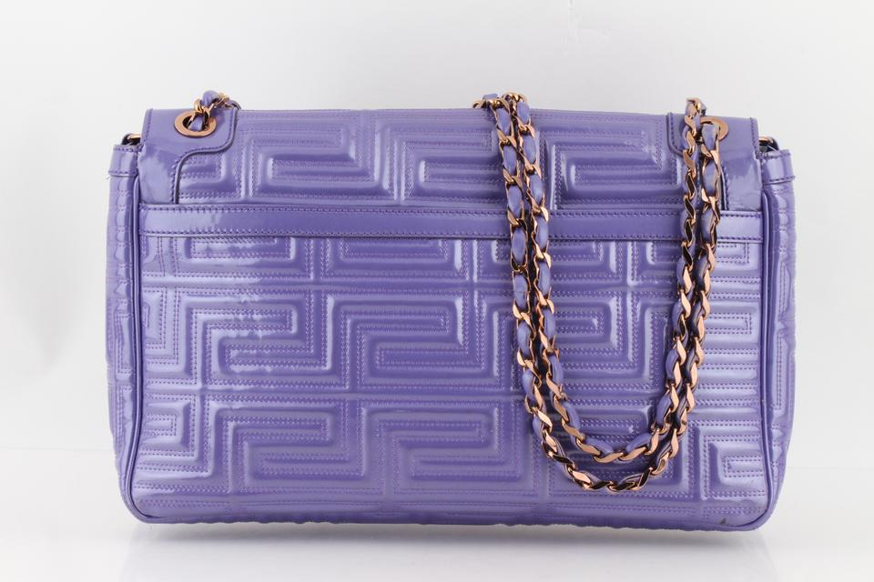 572d41ee0190 Versace Gianni Quilted Purple Patent Leather Shoulder Bag - Tradesy