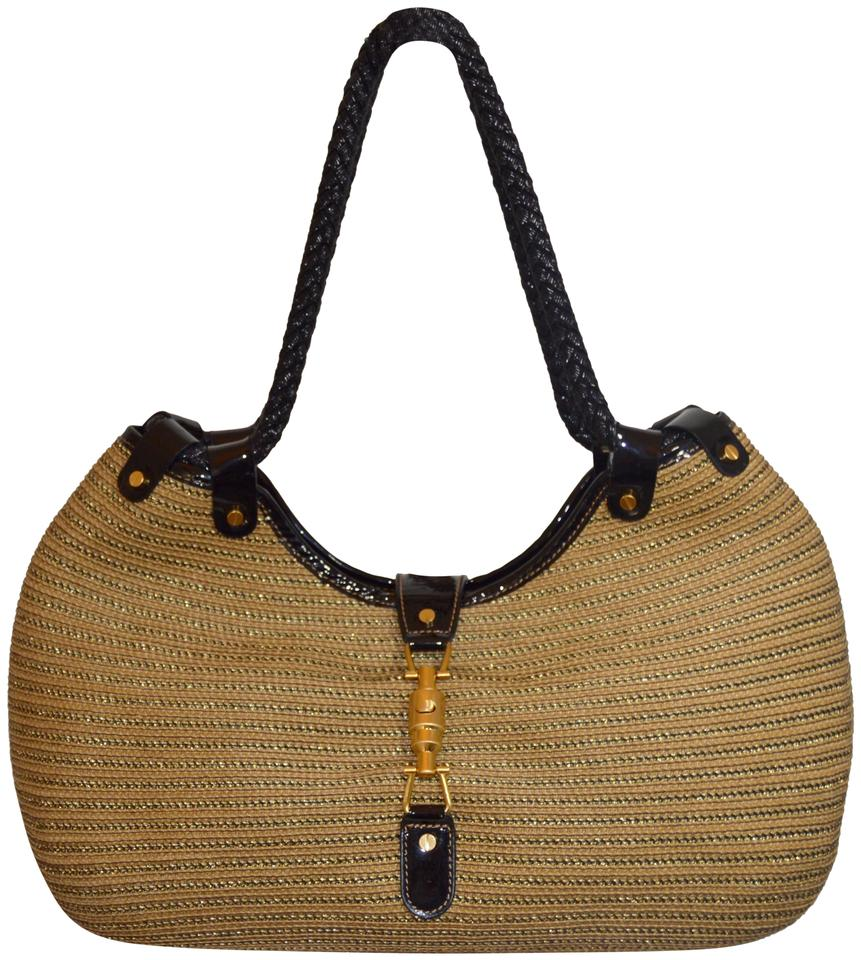 e792c33a5d Eric Javits Metallic Woven Leather Trim Squishy Tte Gold Fittings Tote in  Beige Black Image ...