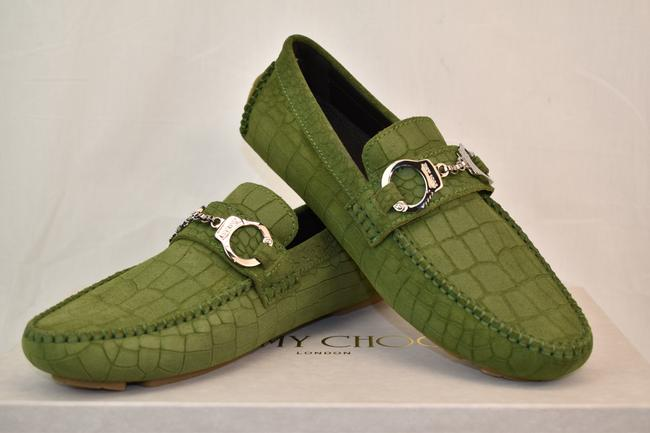 Item - Green Brogan Light Olive Croc Print Suede Handcuff Driving Loafers 45 12 Shoes