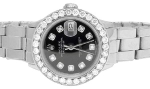 Rolex Ladies 26MM Datejust Oyster Black Dial Diamond 2.5 Ct