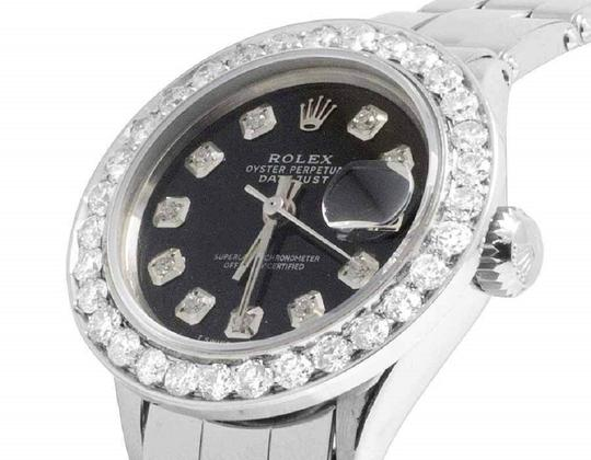 Rolex Ladies 26MM Datejust Oyster Black Dial Diamond 2.5 Ct Image 2