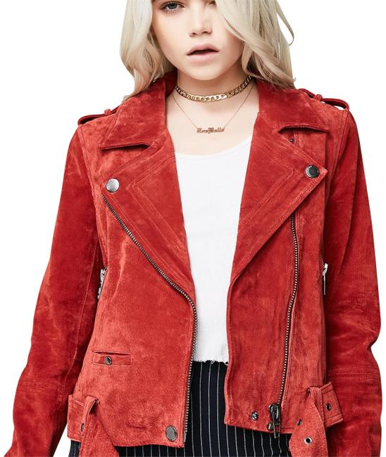 Item - Red My Mind Suede Moto Jacket Size 6 (S)