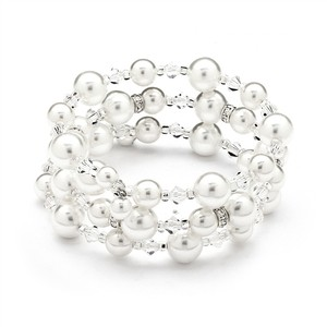 Mariell Adjustable Coil White Pearl Wedding Bracelet 4080b-w-cr-s