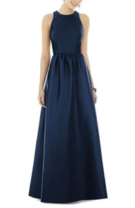 Alfred Sung Midnight Polyester Sateen Gown Formal Bridesmaid/Mob Dress Size 4 (S)