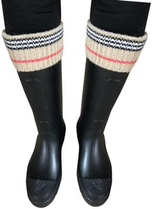 Burberry Rubber Rainboots Rain Black with Burberry Trim Boots