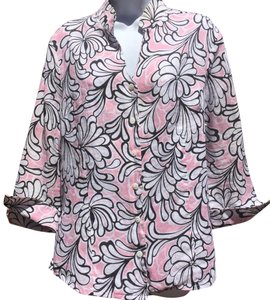 Carole Little Button Down Shirt Pink/White/Black