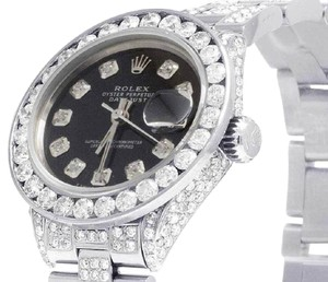 Rolex Ladies Datejust Oyster 26MM Black Dial Iced Out Diamond 10.5 Ct