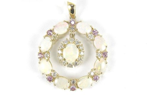 Preload https://img-static.tradesy.com/item/24214669/purple-and-white-and-gold-round-fire-opal-sapphire-diamond-pendant-14k-yg-941ct-necklace-0-0-540-540.jpg