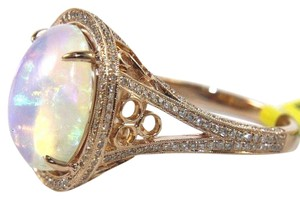 Other Oval Opal Gemstone & Diamond Solitaire Ring 14k Rose Gold 5.61Ct