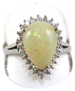 Other Pear Cut Fire Opal Cocktail Ring w/Diamond Halo 14k WG 3.05Ct