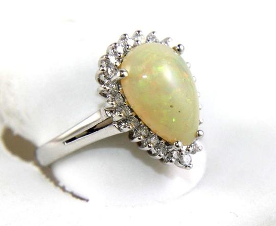Other Pear Cut Fire Opal Cocktail Ring w/Diamond Halo 14k WG 3.05Ct Image 1