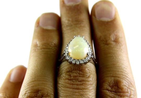 Other Pear Cut Fire Opal Cocktail Ring w/Diamond Halo 14k WG 3.05Ct Image 3