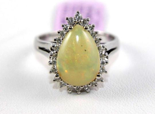 Other Pear Cut Fire Opal Cocktail Ring w/Diamond Halo 14k WG 3.05Ct Image 4