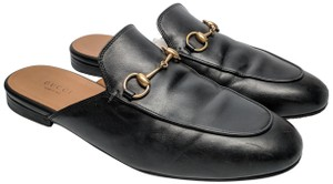 Gucci Princetown Slide black leather with gold hardware Mules