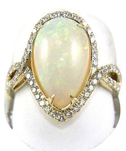 Other Pear Cut Fire Opal & Diamond Cocktail Infinity Ring 14k YG 4.50Ct