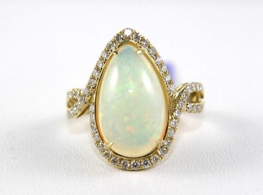 Other Pear Cut Fire Opal & Diamond Cocktail Infinity Ring 14k YG 4.50Ct Image 3
