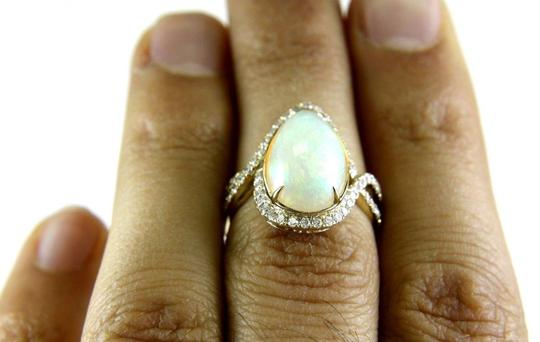 Other Pear Cut Fire Opal & Diamond Cocktail Infinity Ring 14k YG 4.50Ct Image 5