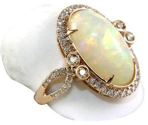 Other Huge Oval Fire Opal Solitaire Ring w/Diamond Halo 14k RG 4.32Ct