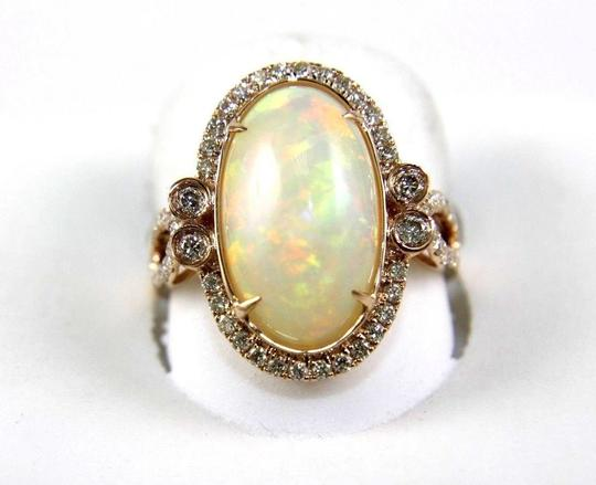 Other Huge Oval Fire Opal Solitaire Ring w/Diamond Halo 14k RG 4.32Ct Image 1