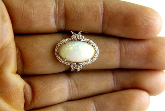 Other Huge Oval Fire Opal Solitaire Ring w/Diamond Halo 14k RG 4.32Ct Image 2