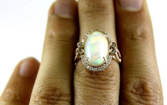 Other Huge Oval Fire Opal Solitaire Ring w/Diamond Halo 14k RG 4.32Ct Image 3