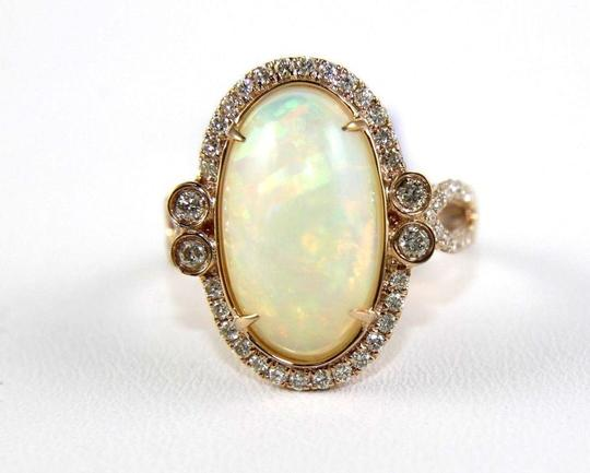 Other Huge Oval Fire Opal Solitaire Ring w/Diamond Halo 14k RG 4.32Ct Image 4