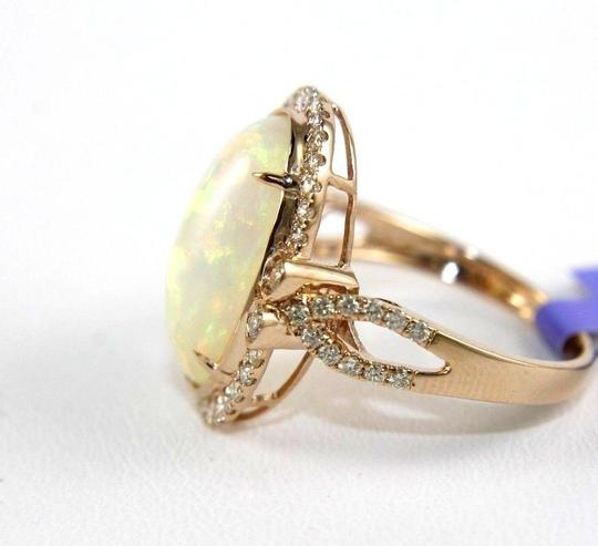 Other Huge Oval Fire Opal Solitaire Ring w/Diamond Halo 14k RG 4.32Ct Image 5