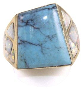 Other Square Turquoise and Fire Opal Men's Ring 14k Yellow Gold 10.0Ct