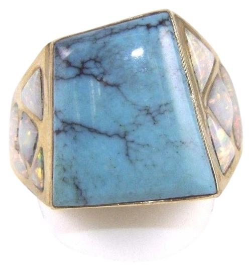 Preload https://img-static.tradesy.com/item/24214798/turquoise-and-gold-square-fire-opal-men-s-14k-yellow-100ct-ring-0-1-540-540.jpg