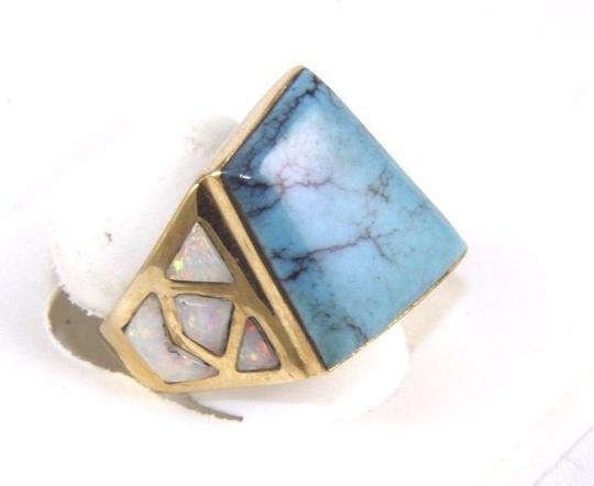 Other Square Turquoise and Fire Opal Men's Ring 14k Yellow Gold 10.0Ct Image 1
