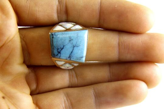 Other Square Turquoise and Fire Opal Men's Ring 14k Yellow Gold 10.0Ct Image 2