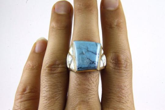 Other Square Turquoise and Fire Opal Men's Ring 14k Yellow Gold 10.0Ct Image 3