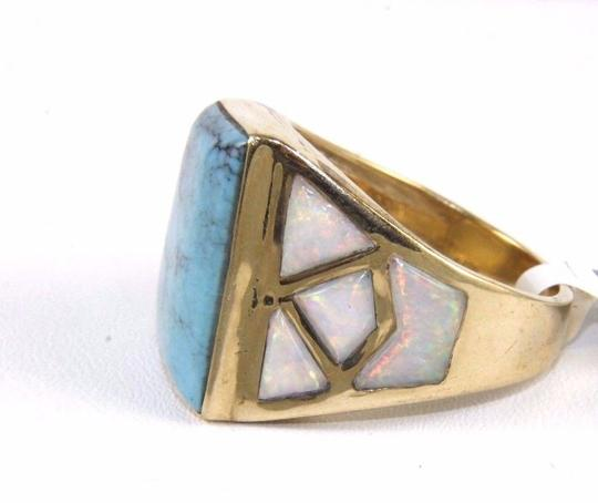 Other Square Turquoise and Fire Opal Men's Ring 14k Yellow Gold 10.0Ct Image 4