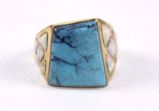 Other Square Turquoise and Fire Opal Men's Ring 14k Yellow Gold 10.0Ct Image 5
