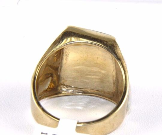 Other Square Turquoise and Fire Opal Men's Ring 14k Yellow Gold 10.0Ct Image 6