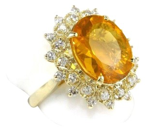Other Oval Mexican Fire Opal Lady's Ring w/Diamond Halo 14K YG 5.44Ct