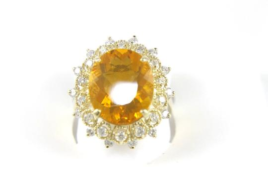 Other Oval Mexican Fire Opal Lady's Ring w/Diamond Halo 14K YG 5.44Ct Image 1