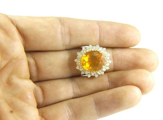 Other Oval Mexican Fire Opal Lady's Ring w/Diamond Halo 14K YG 5.44Ct Image 3