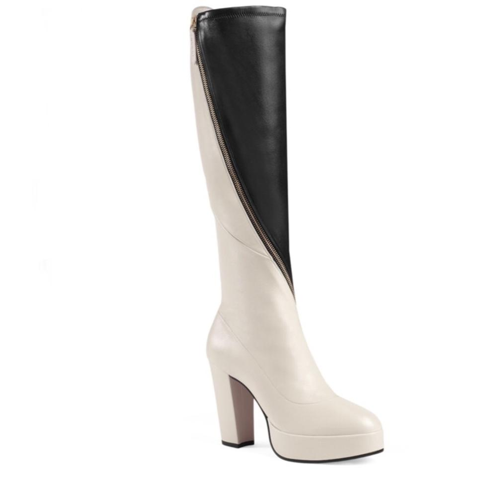 7b2c0dc315b6 Gucci Agon Leather Platform Knee Boots Booties Size EU 39.5 (Approx ...