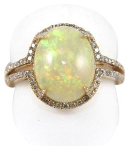 Other Oval Opal Solitaire Ring w/Diamond Halo & Accents 14k RG 2.70Ct