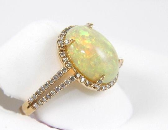 Other Oval Opal Solitaire Ring w/Diamond Halo & Accents 14k RG 2.70Ct Image 1