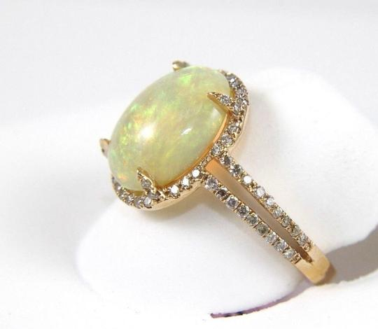 Other Oval Opal Solitaire Ring w/Diamond Halo & Accents 14k RG 2.70Ct Image 2