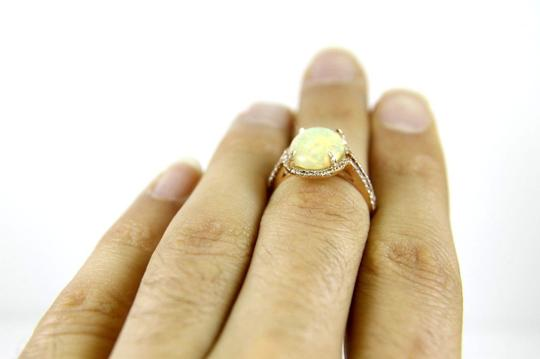 Other Oval Opal Solitaire Ring w/Diamond Halo & Accents 14k RG 2.70Ct Image 4
