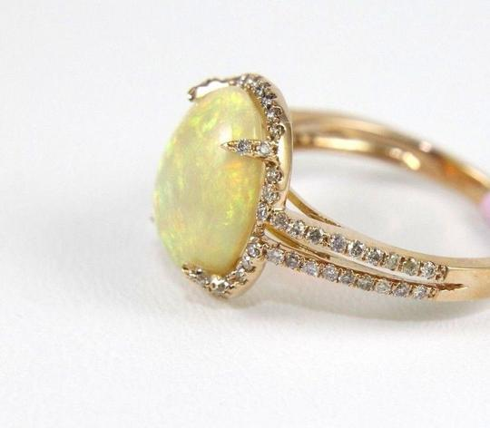 Other Oval Opal Solitaire Ring w/Diamond Halo & Accents 14k RG 2.70Ct Image 5